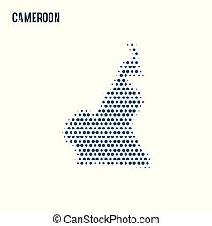 Dotted map of Cameroon isolated on white background.