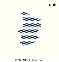 Dotted map of Chad isolated on white background.