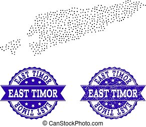 Dotted Map of East Timor and Distress Stamp Collage
