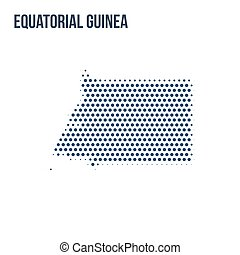 Dotted map of Equatorial Guinea isolated on white background.