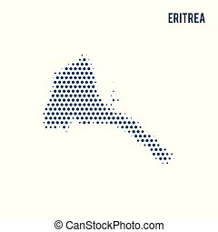 Dotted map of Eritrea isolated on white background.