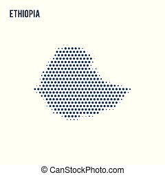 Dotted map of Ethiopia isolated on white background.