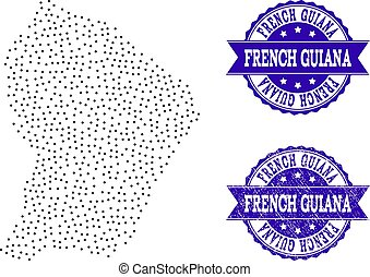 Dotted Map of French Guiana and Distress Seal Collage