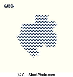 Dotted map of Gabon isolated on white background.
