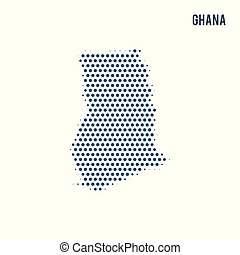 Dotted map of Ghana isolated on white background.
