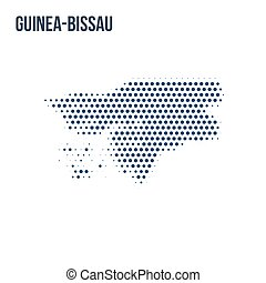 Dotted map of Guinea-Bissau isolated on white background.