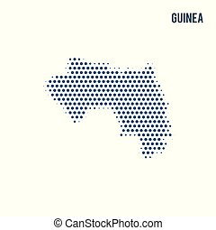 Dotted map of Guinea isolated on white background.