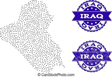 Dotted Map of Iraq and Distress Seal Composition