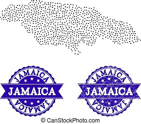 Dotted Map of Jamaica and Grunge Seal Composition