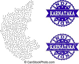 Dotted Map of Karnataka State and Distress Seal Collage
