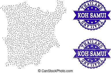 Dotted Map of Koh Samui and Scratched Stamp Collage