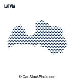 Dotted map of Latvia isolated on white background.
