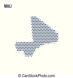 Dotted map of Mali isolated on white background.
