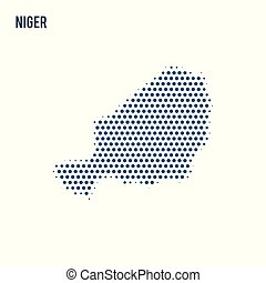 Dotted map of Niger isolated on white background.