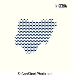 Dotted map of Nigeria isolated on white background.