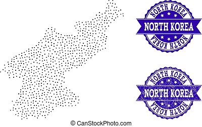 Dotted Map of North Korea and Distress Stamp Collage -...
