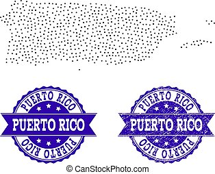 Dotted Map of Puerto Rico and Textured Seal Collage