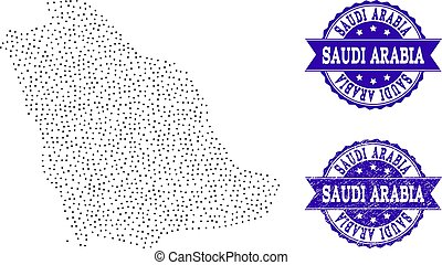Dotted Map of Saudi Arabia and Textured Seal Collage