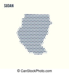 Dotted map of Sudan isolated on white background.