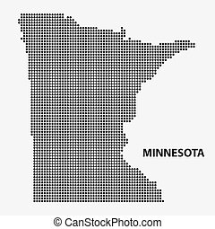 Dotted map of the State Minnesota. Vector illustration. -...