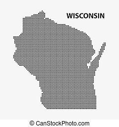 Dotted map of the State Wisconsin. Vector illustration.