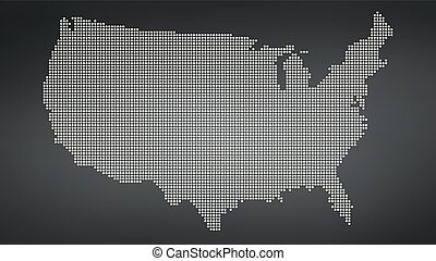 Dotted map of USA, vector illustration isolated on black background