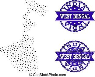 Dotted Map of West Bengal State and Textured Stamp Composition