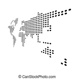 Dotted map of World. Side view distortion. Black vector dots on white background