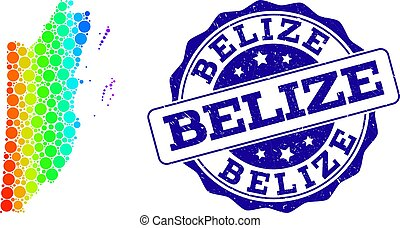 Dotted Rainbow Map of Belize and Grunge Stamp Seal