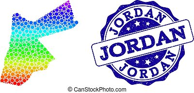 Dotted Rainbow Map of Jordan and Grunge Stamp Seal