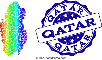 Dotted Rainbow Map of Qatar and Grunge Stamp Seal