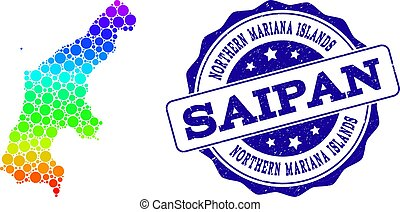 Dotted Rainbow Map of Saipan Island and Grunge Stamp Seal