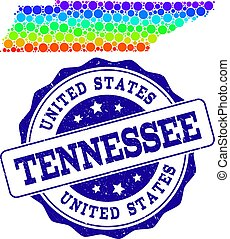 Dotted Rainbow Map of Tennessee State and Grunge Stamp Seal