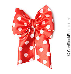 dotted red satin gift bow and ribbon isolated on white