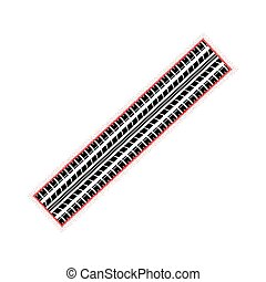 Dotted red tire track