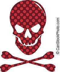 dotted, schedel, vrijstaand, textuur, achtergrond., wit rood