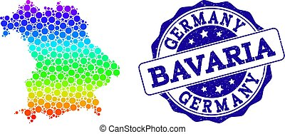 Dotted Spectrum Map of Bavaria State and Grunge Stamp Seal