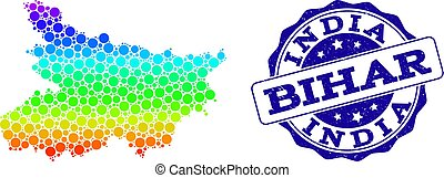 Dotted Spectrum Map of Bihar State and Grunge Stamp Seal