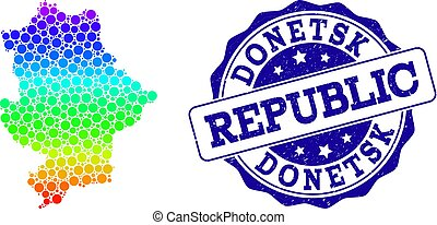 Dotted Spectrum Map of Donetsk Republic and Grunge Stamp Seal