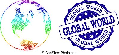 Dotted Spectrum Map of Global World and Grunge Stamp Seal