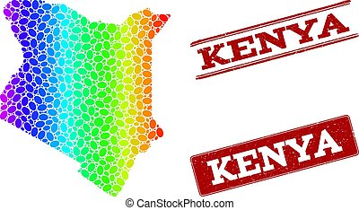 Dotted Spectrum Map of Kenya and Grunge Stamp Seals