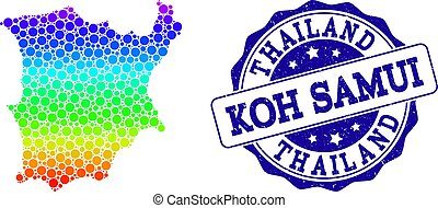 Dotted Spectrum Map of Koh Samui and Grunge Stamp Seal