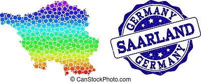 Dotted Spectrum Map of Saarland State and Grunge Stamp Seal