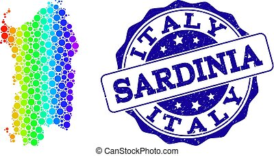 Dotted Spectrum Map of Sardinia Region and Grunge Stamp Seal...