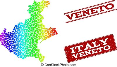 Dotted Spectrum Map of Veneto Region and Grunge Stamp Seals...