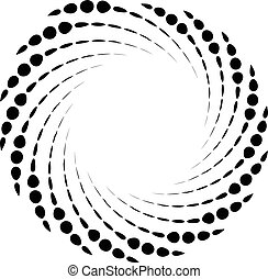 Dotted spiral element. Concentric swirling circles. ...