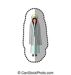 dotted sticker of saint virgin mary shading