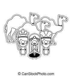 dotted sticker silhouette set collection kin mages and god