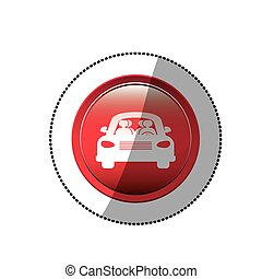 dotted sticker with road sign of car crossing icon flat
