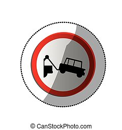 dotted sticker with sign with tow truck